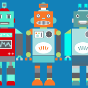 retro robots blue