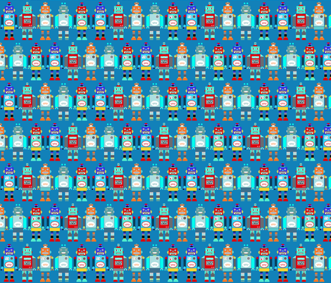 retro robots blue fabric by katarina on Spoonflower - custom fabric