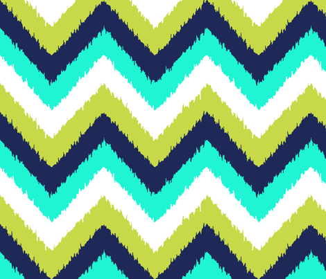 chevron ikat peacock white fabric by katarina on Spoonflower - custom fabric