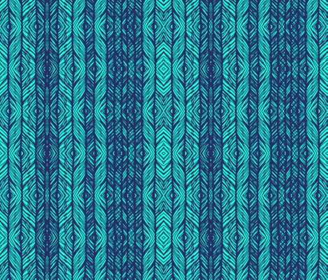 ikat peacock lace blue fabric by katarina on Spoonflower - custom fabric