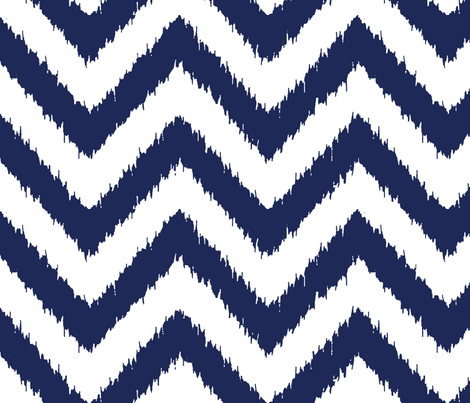 chevron ikat navy fabric by katarina on Spoonflower - custom fabric