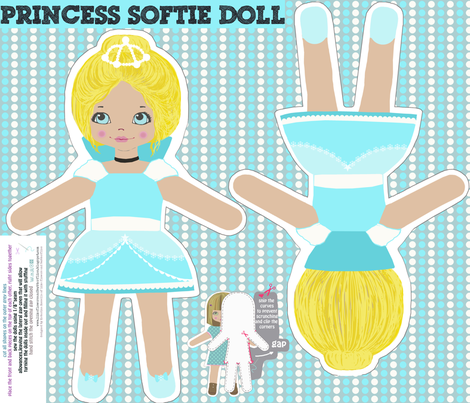 princess doll - cut and sew pattern template fabric by katarina on Spoonflower - custom fabric