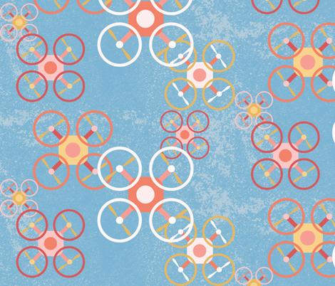 My Little Dronies - Blue fabric by owlandchickadee on Spoonflower - custom fabric