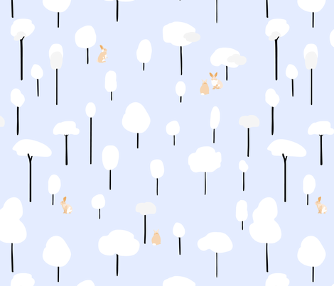 Bunnies_in_a_snowy_forest fabric by pragya_k on Spoonflower - custom fabric
