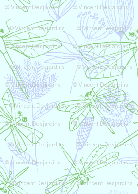 Dragonflies and Plants on Pale Blue