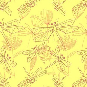 Dragonflies and Plants Yellow and Burgundy