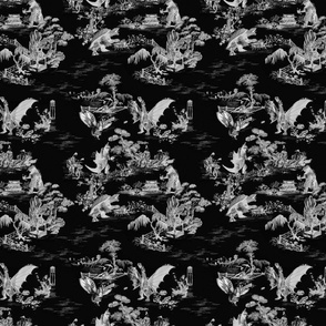 Godzilla & Friends toile (negative)