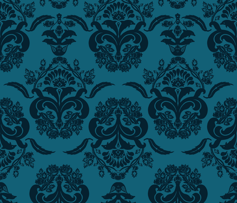 damask dolphin navy blue fabric by katarina on Spoonflower - custom fabric