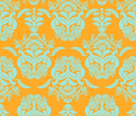 damask gloral dolphin sunny fabric by katarina on Spoonflower - custom fabric