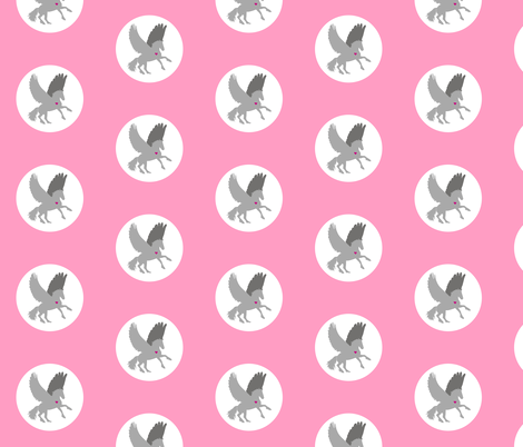 Pink Pegasus Polka fabric by smuk on Spoonflower - custom fabric