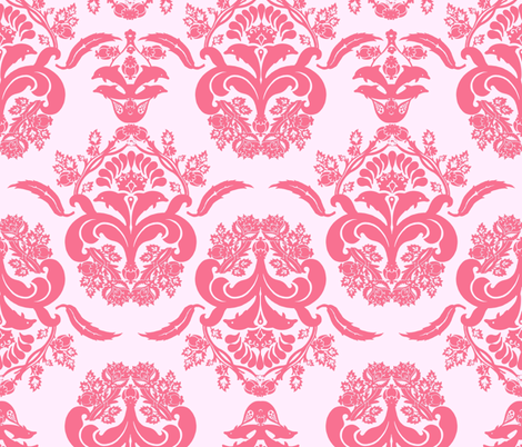 damask dolphin coral pink fabric by katarina on Spoonflower - custom fabric