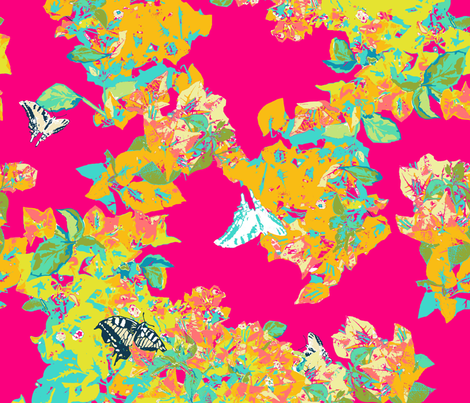 bougainvillea yellow pink fabric by katarina on Spoonflower - custom fabric