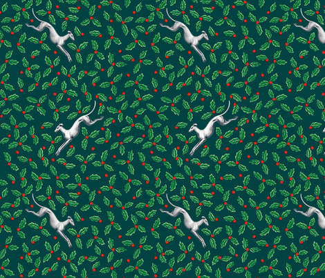 Green Holly Winter Greyhound ©2013 by Jane Walker fabric by artbyjanewalker on Spoonflower - custom fabric