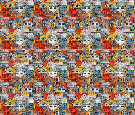 houses fabric by dagmanika on Spoonflower - custom fabric