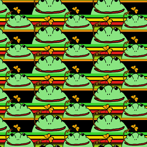 Frogs at School with Stripes fabric by anniedeb on Spoonflower - custom fabric