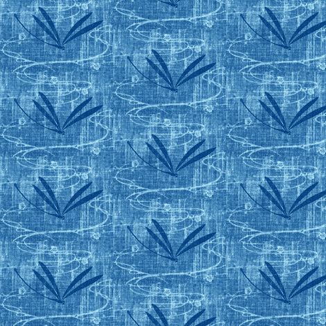Dragonflies on pond - denim, navy, aqua fabric by materialsgirl on Spoonflower - custom fabric