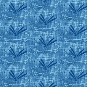 Dragonflies on pond - denim, navy, aqua