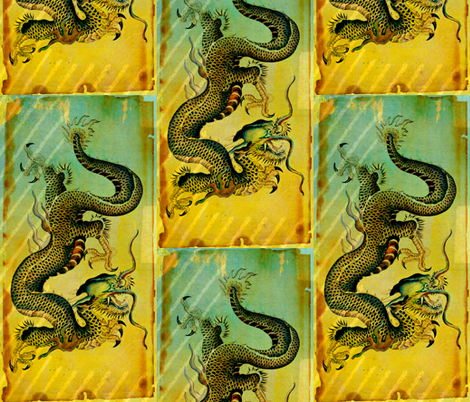 Vintage Dragon postcard remix fabric by whimzwhirled on Spoonflower - custom fabric