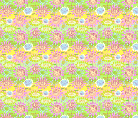 Floral Frolic Rainbow fabric by vinpauld on Spoonflower - custom fabric