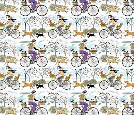 Bikes and Dogs Larger fabric by vinpauld on Spoonflower - custom fabric