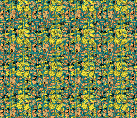 Hedgerow Teal Yellow and Orange fabric by vinpauld on Spoonflower - custom fabric
