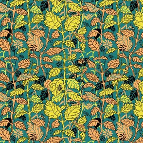 Hedgerow Teal Yellow and Orange