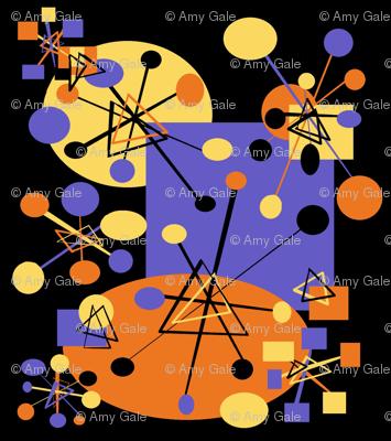 Geometric Atomic Wallpaper I Black