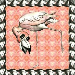 Flamingo on pink in beak border