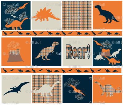 dinosaur squares ©2013 Jill Bull