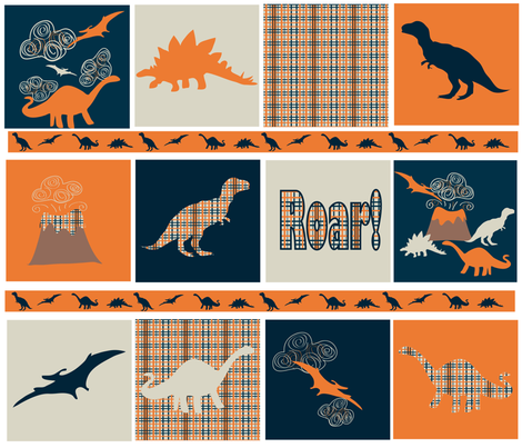dinosaur squares ©2013 Jill Bull fabric by palmrowprints on Spoonflower - custom fabric