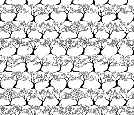 Dancing Trees - Black and White fabric by martaharvey on Spoonflower - custom fabric