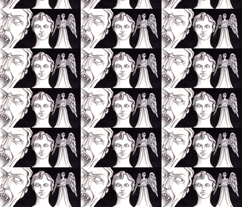 Weeping Angels fabric by sharlzndollz on Spoonflower - custom fabric