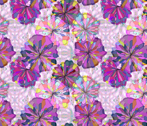 Pink and Violet Floral with Ikat fabric by bloomingwyldeiris on Spoonflower - custom fabric