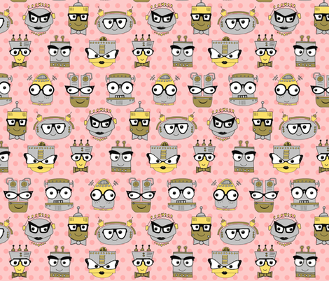 Geeky Chic Eye Glasses (Even Robots Love Them!) - Pink fabric by dianef on Spoonflower - custom fabric