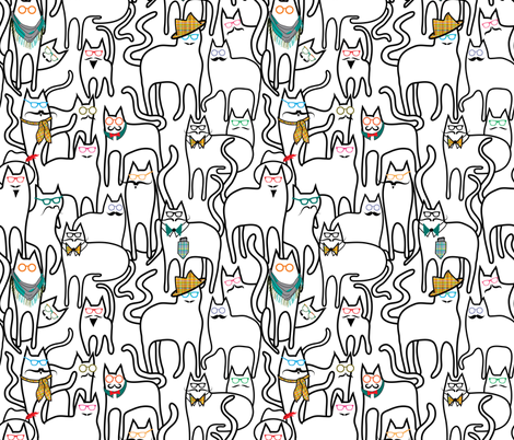 Hipster Cats fabric by vo_aka_virginiao on Spoonflower - custom fabric
