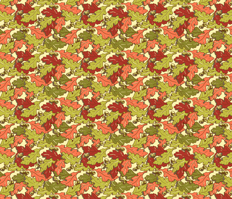 Derry Oak leaves_ Autumn Multicolours fabric by cherryandcinnamon on Spoonflower - custom fabric