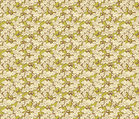 Derry Oak leaves neutral and green fabric by cherryandcinnamon on Spoonflower - custom fabric