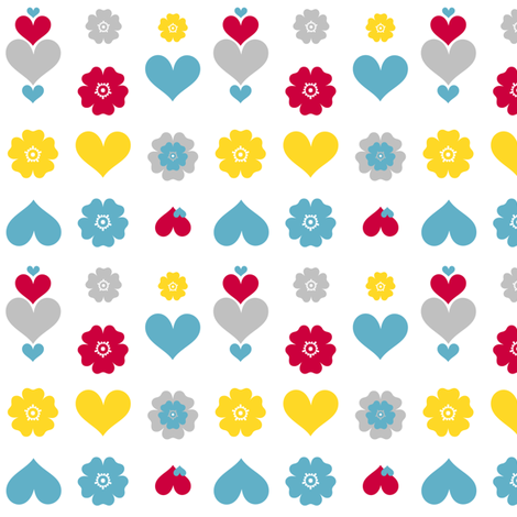 Hearts & Flowers! - Sweet Birds of Summer - Summer Party! - © PinkSodaPop 4ComputerHeaven.com   fabric by pinksodapop on Spoonflower - custom fabric