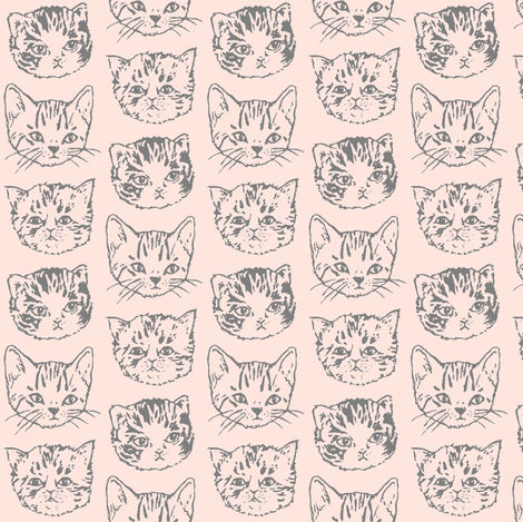 Cat Stack | Grey on Peach | Small fabric by imaginaryanimal on Spoonflower - custom fabric