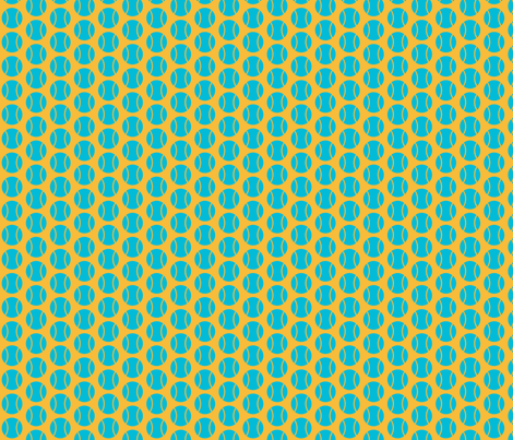 Small Half-Drop Blue/Orange Tennis Balls fabric by audreyclayton on Spoonflower - custom fabric