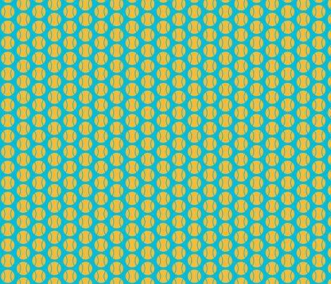 Small Half-Drop Orange/Blue Tennis Balls fabric by audreyclayton on Spoonflower - custom fabric