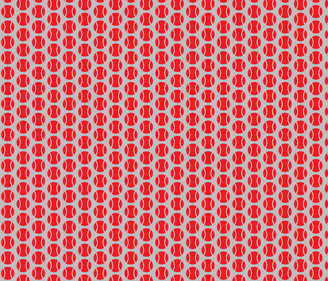 Small Half-Drop Red Tennis Balls fabric by audreyclayton on Spoonflower - custom fabric