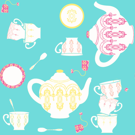 High tea ©2012 Jill Bul fabric by palmrowprints on Spoonflower - custom fabric
