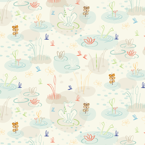 Lillypad Lake  fabric by gsonge on Spoonflower - custom fabric