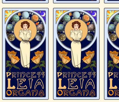 Art Nouveau Princess Leia fabric by caledoniasky on Spoonflower - custom fabric