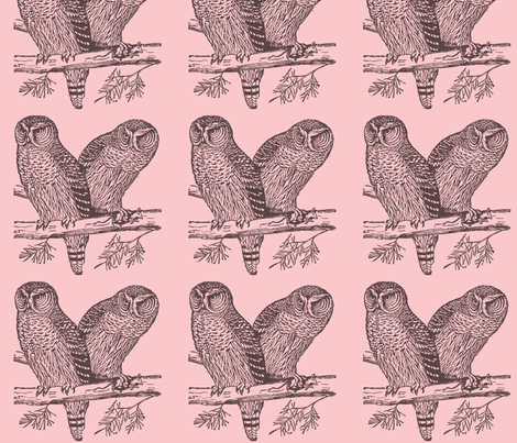 Owls pink fabric by lorrilennox on Spoonflower - custom fabric