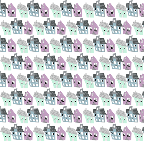 Houses fabric by silverfishcircus on Spoonflower - custom fabric