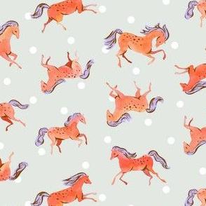 Frisky Horses | Red-Orange/Blue