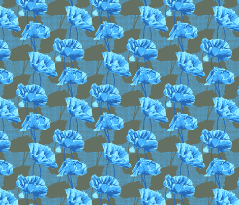 Rimini Poppies - Gray and Blue fabric by siya on Spoonflower - custom fabric