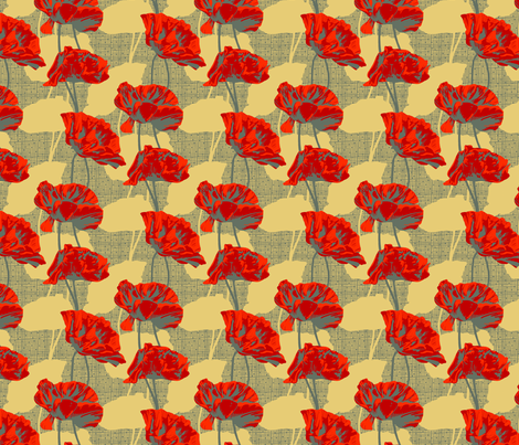 Rimini Poppies - Light Camel fabric by siya on Spoonflower - custom fabric